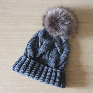 Cashmere hat with fur pom pom, Cable knit hat,  Braided cables beanie, Fur pom pom, Bobble hat,  Recycled fur, Detachable pom pom