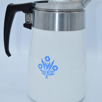 Corning Ware Blue Cornflower Percolator Vintage 6 Cup Stove Top Percolator Complete Blue Cornflower Pattern Coffee Pot Carafe Mid Century