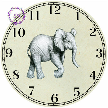 """Drawing Elephant Art - -DIY Digital Collage - 12.5"""" DIA for 12"""" Clock Face Art - Crafts Projects"""