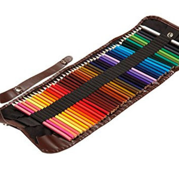 Premium Pre-Sharpened Colored Pencils with Roll Up Pencil Case - Set Of 48 Assorted Colors - Water Color Capable - Great for Kids & Adults