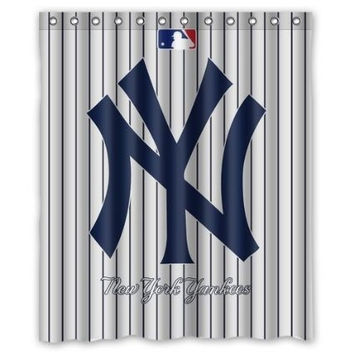 "Custom New York Yankees Baseball Waterproof Polyester Fabric Bathroom Shower Curtain with 12 Hooks 60""(w) x 72""(h)"