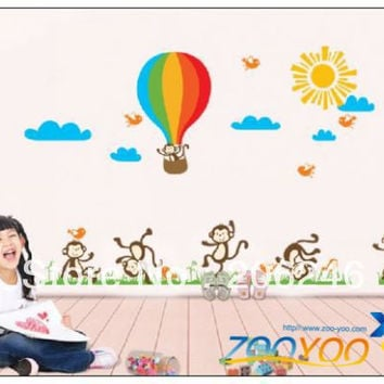 Large Size 80*140cm Monkeys Playing 3D Pvc Wall stickers Decal For Kids Room Decor SM6