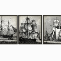 Vintage Merchant Shipping Print Set Of 3 - Sailing Ship Triptych Art - Trade Ships - Cutter - Hermaphrodite Brig - Barque - Whaling Ship