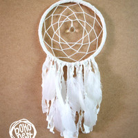 Dream Catcher - White Dreams - With Sparkling Crystal Prism, Pure White Feathers and Textiles - Boho Home Decor, Nursery Mobile