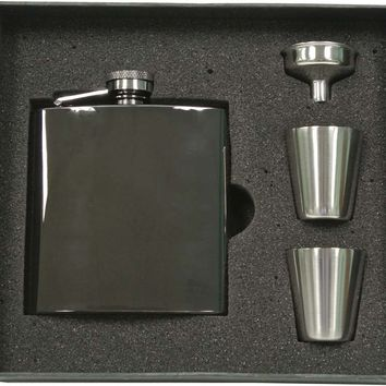 Visol Outlaw Gunmetal 6oz Stainless Steel Flask Gift Set