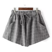 Dark Grey Plaid Draw-String Shorts