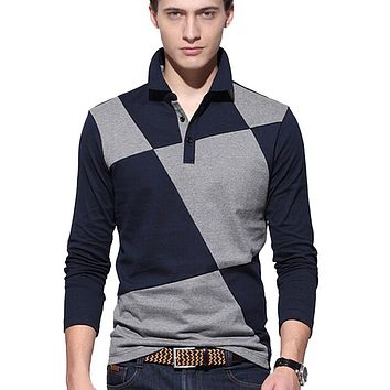 Men Long Sleeve Polo Shirt Men Casual Design lattice Stitching Polo Mens Cotton Breathable Polos Shirts Camisas Homme
