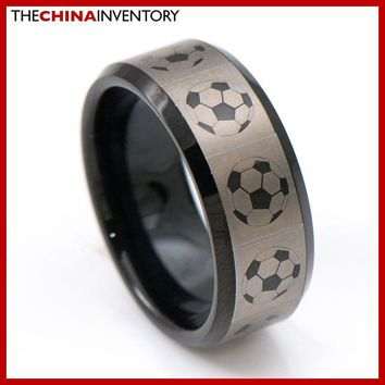 8MM SIZE 9 MEN BLACK TUNGSTEN CARBIDE FOOTBALL SPORT BAND RING R4107
