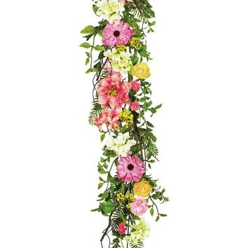 "Mixed Silk Flower Garland in Assorted Colors - 52"" Long"