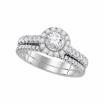 14kt White Gold Womens EGL Certified Round Diamond Solitaire Bridal Wedding Engagement Ring Set 1 Cttw