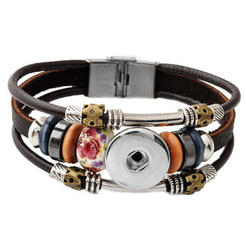 P00449 Hot sale 10color stainless steel clasp 20cm rivca snap buton real leather bracelet fit 18mm button snap button armband