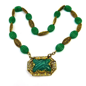 Art Deco Necklace, Brass Glass Necklace, Green Glass Chrysoprase Necklace, Emerald Green Jewelry, Art Deco Brooch, 1930s Vintage Jewelry