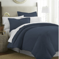 Duvet Cover Set 100-percent Brushed Microfiber Navy Blue