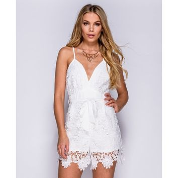 Plunge Neck Crochet Playsuit