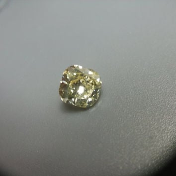 Fancy Light Yellow .91 VS1 Cushion Cut 14K White Gold Diamond Ring Anniversary Engagement Wedding CT Beautiful and Rare