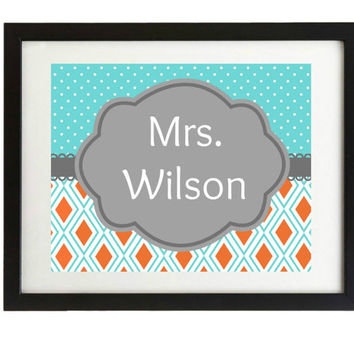 End of year teacher gift, Teacher door sign,Chevron, orange and turquoise, printable, teacher gift, Name, classroom sign, blue & orange