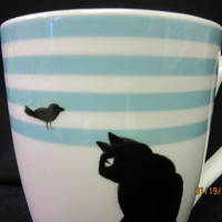 Cup/MUG Aqua and White, Black Cat with bird ; Gift Finds, Valentine's Day Porcelain Ceramic; Hand Painted Kiln Fired by B Marsh 14 oz CUP
