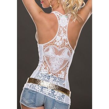 2018 Summer Fashion Womens Tank top Sexy lace tops Crochet Back Hollow-out woman Vest Camisole lace Black& White Vest Beach