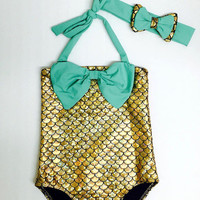 2017 Little Girls One Piece Gold Mermaid Swimsuit With Green Bow