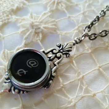 At and Cent Antique Typewriter Key Pendant, Typewriter Jewelry, Punctuation Necklace, Black Key, Silver Victorian Setting, Steampunk Jewelry