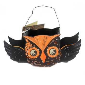Halloween FLYING OWL TIN BUCKETS Metal Container Tf6137