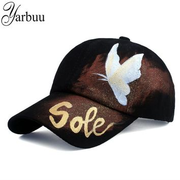 Trendy Winter Jacket [YARBUU]New style brand baseball caps 2017 fashion high quality Butterfly painting baseball cap solid colour Casual Snapback HAT AT_92_12