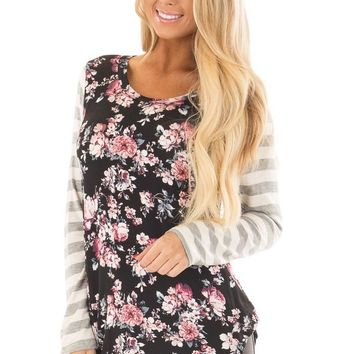 Black Floral Print Tee Shirt with Striped Sleeves
