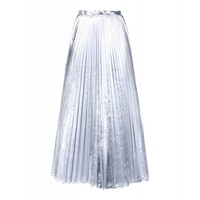 DKNY Silver Pleated Skirt - Metallic Midi Skirt - ShopBAZAAR