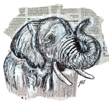 Elephant Ink Drawing Mixed Media 8x10 Matted Art Print 5x7 Wall Art Animal Paintings