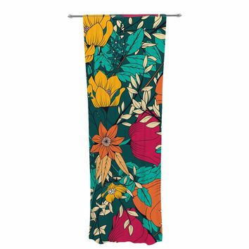 "Bluelela ""Bohemian Botanical Pattern 001"" Green Orange Floral Pattern Vector Illustration Decorative Sheer Curtain"