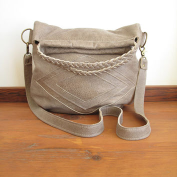 Leather Purse, Soft Leather Bag, Southwest Style Bags, Leather Tote, Leather Messenger, Messenger Bags, Slouchy Leather Bags, Tan, Grey