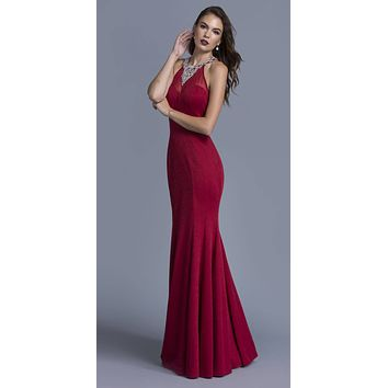 Burgundy Long Prom Dress Beaded Neckline and Back