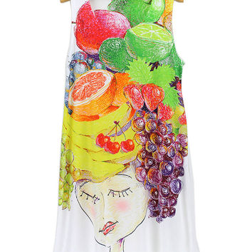 Fruits Girl 3D Print Stylish Sleeveless Round-neck Ladies Dress T-shirts [6050156737]