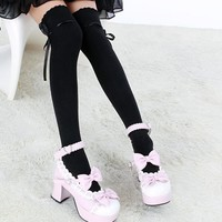 2016 Hot Sale Fashion Women Bow Over Knee Thigh High Soft Cotton strechly  Socks Long Knitted Boot Hosiery Party Vaction Socks