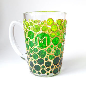 Personalized mug Initial mug Greenery glass mug Bubbles sun catcher mugs Monogram mug Hand painted coffee mugs