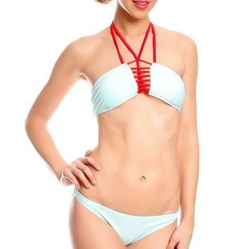 MINT PADDED CHEST MULTI LACE LOOK LO WAIST BOTTOMS TWO PIECE SWIMSUIT