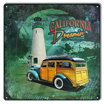 Classic Old Woody California Dreamin Reproduction Sign12″x12″