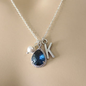 Navy, Blue, Initial, Pearl, Initial, Necklace, Navy, Blue, Glass, Necklace, Personalized, Necklace, Bridesmaid, Necklace, Bridal, Jewelry