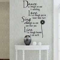 Dance love sing live Wall Quotes Decal Removable stickers decor Vinyl Art