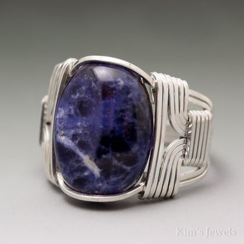 Sodalite Sterling Silver Wire Wrapped Cabochon Ring