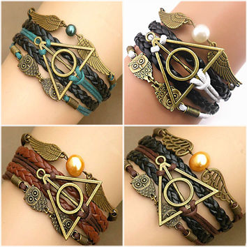 Infinity Bracelet vintage Harry Potter bracelet deathly hallows link Bracelets Charms Bracelet good gift