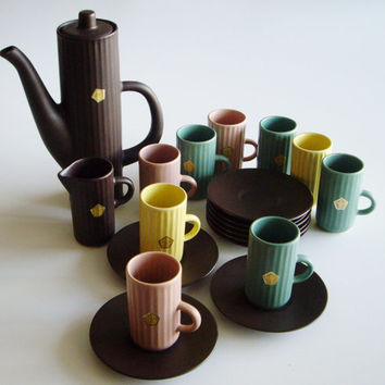 Vintage Ceramic Espresso Set Mid Century Swedish Syco Keramik Demitasse Set Espresso Shots 21 Piece Set