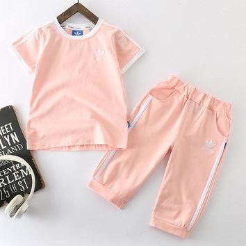 Adidas Girls Boys Children Baby Toddler Kids Child Fashion Casual Shirt Top Tee Pants Trousers Set Two-Piece