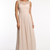 Chiffon Dress with Lace Yoke