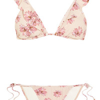 Eberjey - Flying Lotus ruffled floral-print triangle bikini