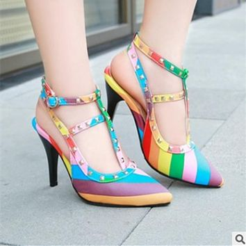 Buckle Patchwork Rivets Pointed Toe High Heels