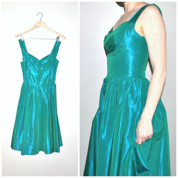 1950s turquoise PARTY dress / vintage 50s JEWEL tone IRIDESCENT formal cocktail dress
