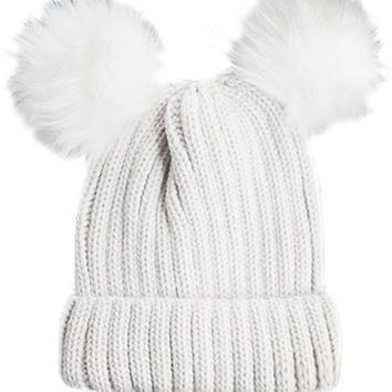 Double Fur Pom Pom Knit Beanie Hat - White