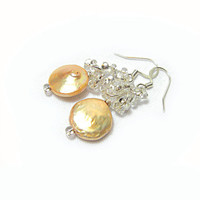 Beige cream ice cream brulee light golden pearl earrings shiny silver shaped beads earrings Israeli Free shipping