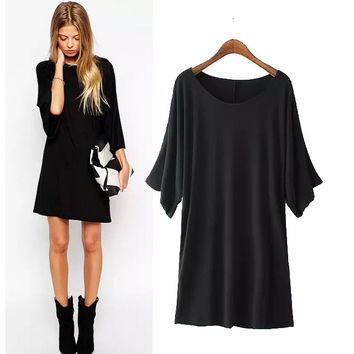Stylish Round-neck Short Sleeve Women's Fashion One Piece Dress [5013370308]